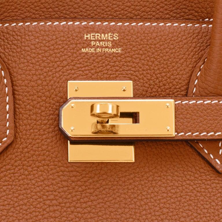 Hermes Birkin 30cm Gold Camel Tan Togo Gold Hardware Bag NEW For Sale 6