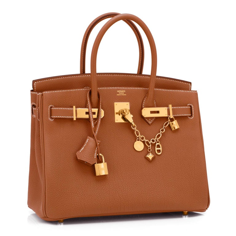 Hermes Gold Togo Camel Tan 30cm Birkin Gold Hardware NEW Brand New in Box. Store Fresh. Pristine Condition (with plastic on hardware).  Perfect gift! Comes with lock, keys, clochette, sleeper, raincoat, and Hermes box. Gold is a gorgeous camel tan,