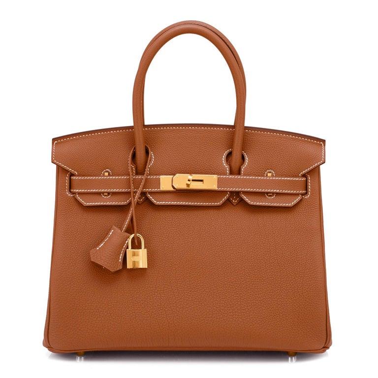 Brown Hermes Birkin 30cm Gold Camel Tan Togo Gold Hardware Bag NEW For Sale