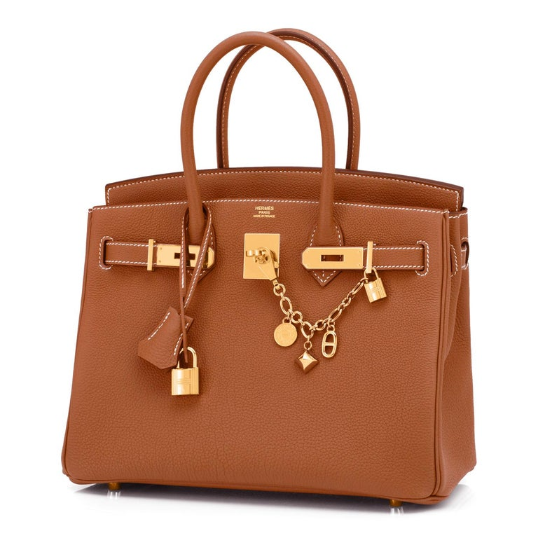 Hermes Birkin 30cm Gold Camel Tan Togo Gold Hardware Bag NEW In New Condition For Sale In New York, NY