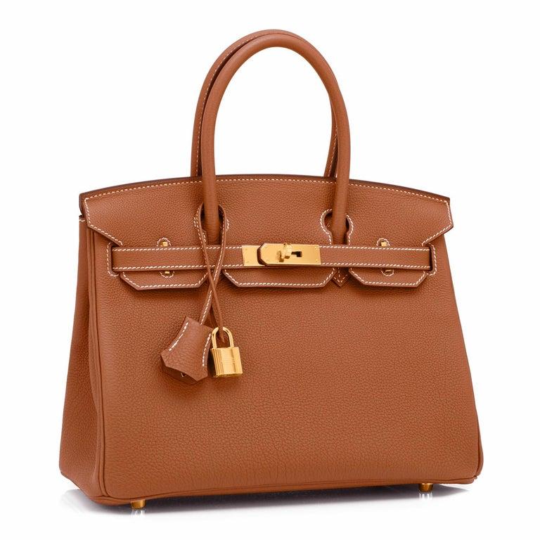 Hermes Birkin 30cm Gold Camel Tan Togo Gold Hardware Bag NEW For Sale 1