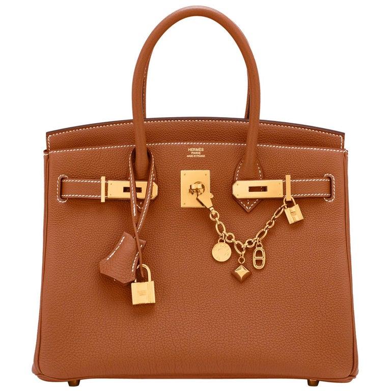 Hermes Birkin 30cm Gold Camel Tan Togo Gold Hardware Bag NEW For Sale