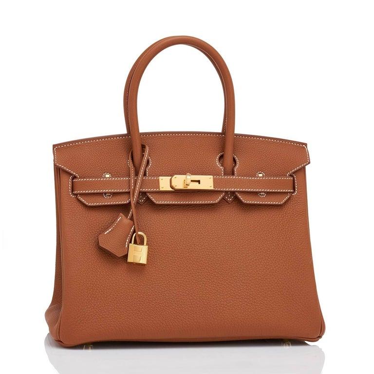Brown Hermes Birkin 30cm Gold Camel Tan Togo Gold Hardware Bag Y Stamp, 2020 For Sale