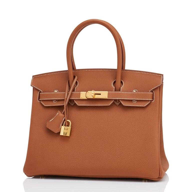 Women's or Men's Hermes Birkin 30cm Gold Camel Tan Togo Gold Hardware Bag Y Stamp, 2020 For Sale