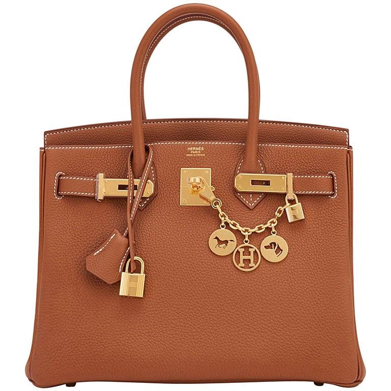 Hermes Birkin 30cm Gold Camel Tan Togo Gold Hardware Bag Y Stamp, 2020 For Sale