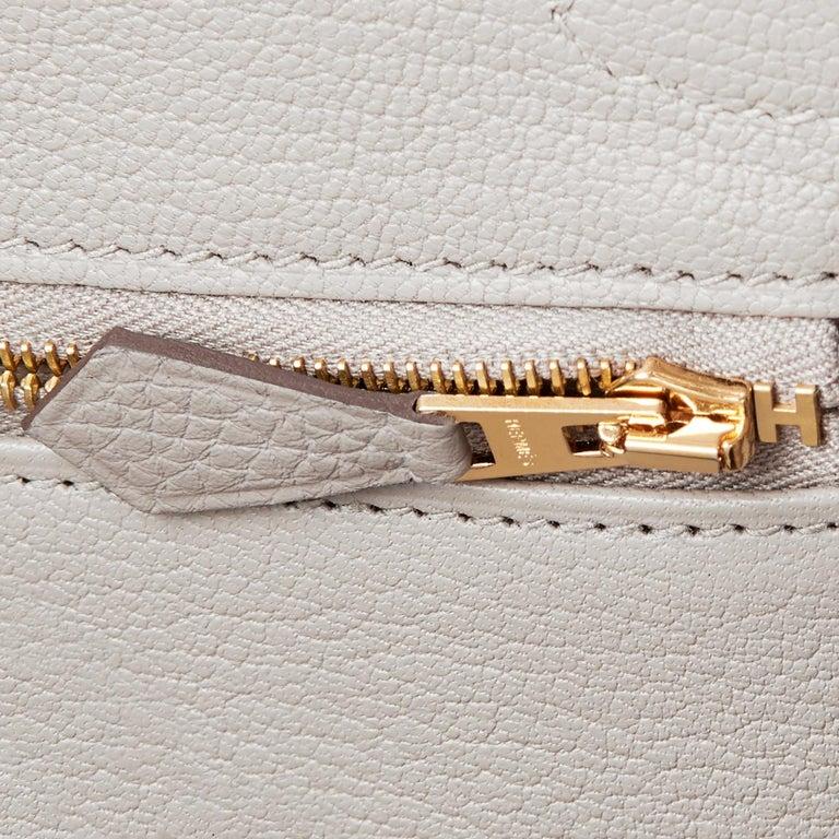 Hermes Birkin 30cm Gris Perle Togo Bag Gold Hardware Pearl Gray Y Stamp, 2020 For Sale 7