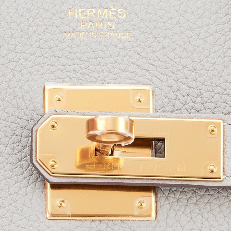 Hermes Birkin 30cm Gris Perle Togo Bag Gold Hardware Pearl Gray Y Stamp, 2020 For Sale 8