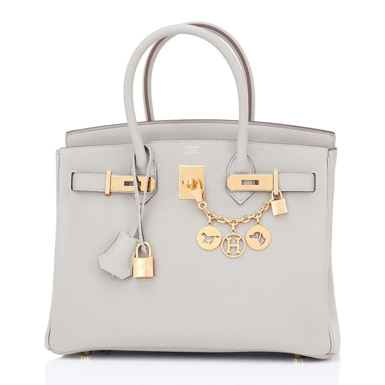 Hermes Birkin 30cm Gris Perle Togo Bag Gold Hardware Pearl Gray Y Stamp, 2020 Just purchased from Hermes store; bag bears new interior 2020 Y Stamp. Brand New in Box in Store Fresh, Pristine Condition (with plastic on hardware) Perfect Gift! Coming