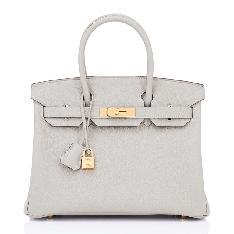 Hermes Birkin 30cm Gris Perle Togo Bag Gold Hardware Pearl Gray Y Stamp, 2020 In New Condition For Sale In New York, NY