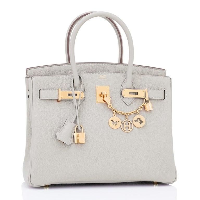 Women's or Men's Hermes Birkin 30cm Gris Perle Togo Bag Gold Hardware Pearl Gray Y Stamp, 2020 For Sale