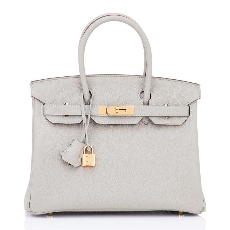 Hermes Birkin 30cm Gris Perle Togo Bag Gold Hardware Pearl Gray Y Stamp, 2020 For Sale 2