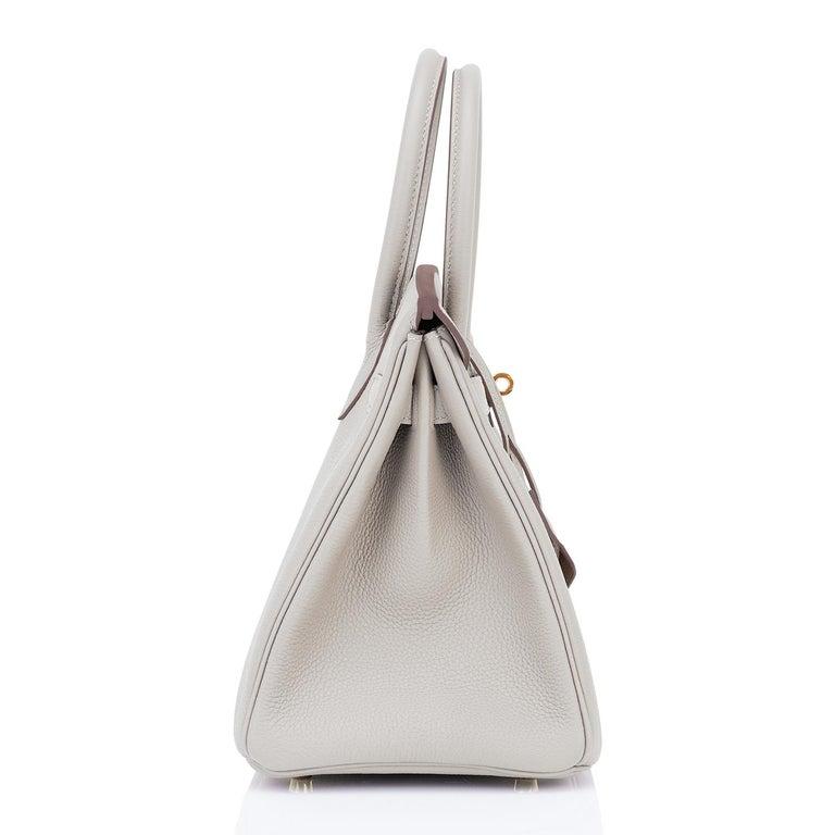 Hermes Birkin 30cm Gris Perle Togo Bag Gold Hardware Pearl Gray Y Stamp, 2020 For Sale 3