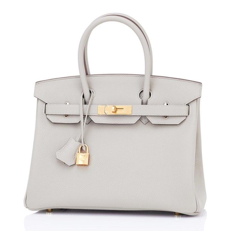 Hermes Birkin 30cm Gris Perle Togo Bag Gold Hardware Pearl Gray Y Stamp, 2020 For Sale 4