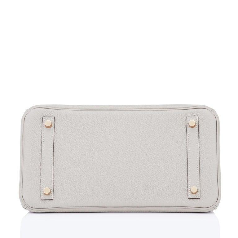 Hermes Birkin 30cm Gris Perle Togo Bag Gold Hardware Pearl Gray Y Stamp, 2020 For Sale 5