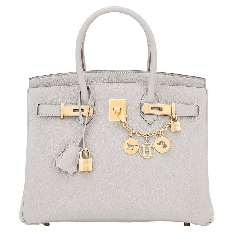 Hermes Birkin 30cm Gris Perle Togo Bag Gold Hardware Pearl Gray Y Stamp, 2020 For Sale