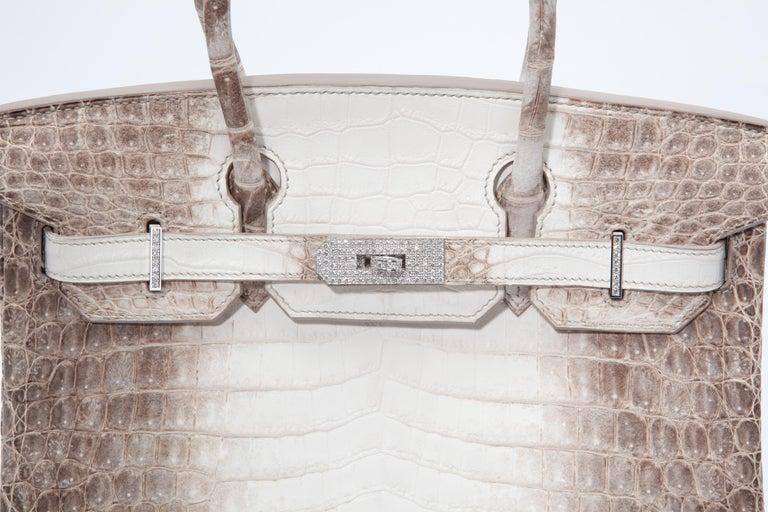 Gray Hermes Birkin 30cm Himalayan with Diamond hardware For Sale
