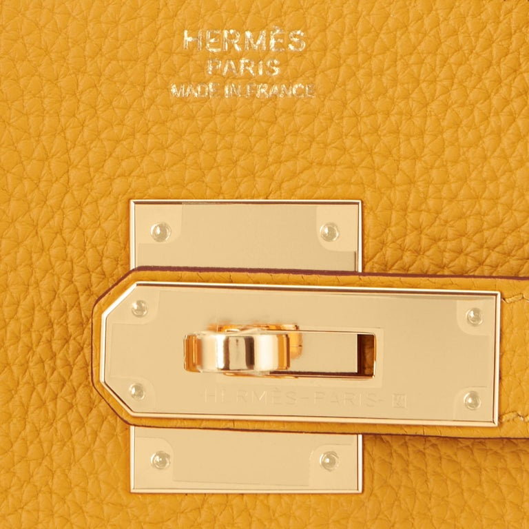 Hermes Birkin 30cm Jaune Ambre Bag Togo Amber Yellow Gold Hardware  For Sale 7