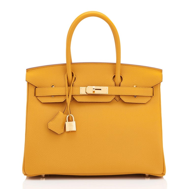 Orange Hermes Birkin 30cm Jaune Ambre Bag Togo Amber Yellow Gold Hardware  For Sale