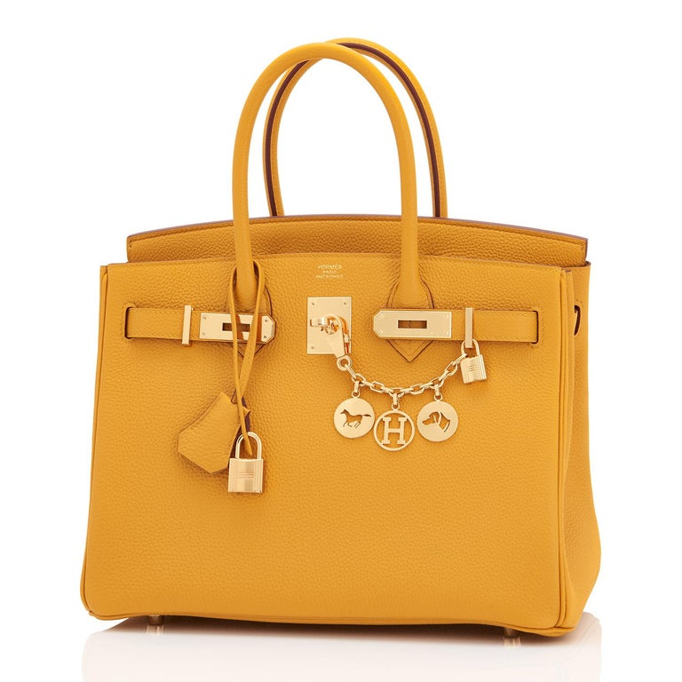 Hermes Birkin 30cm Jaune Ambre Bag Togo Amber Yellow Gold Hardware  In New Condition For Sale In New York, NY