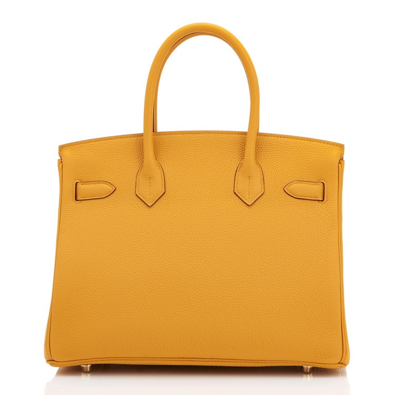 Women's Hermes Birkin 30cm Jaune Ambre Bag Togo Amber Yellow Gold Hardware  For Sale