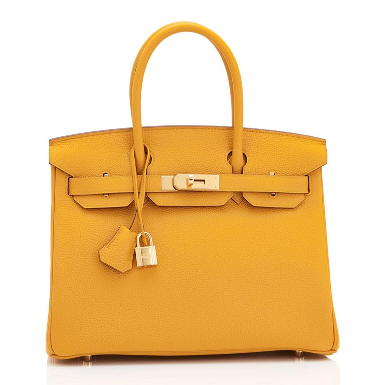Hermes Birkin 30cm Jaune Ambre Bag Togo Amber Yellow Gold Hardware  For Sale 1