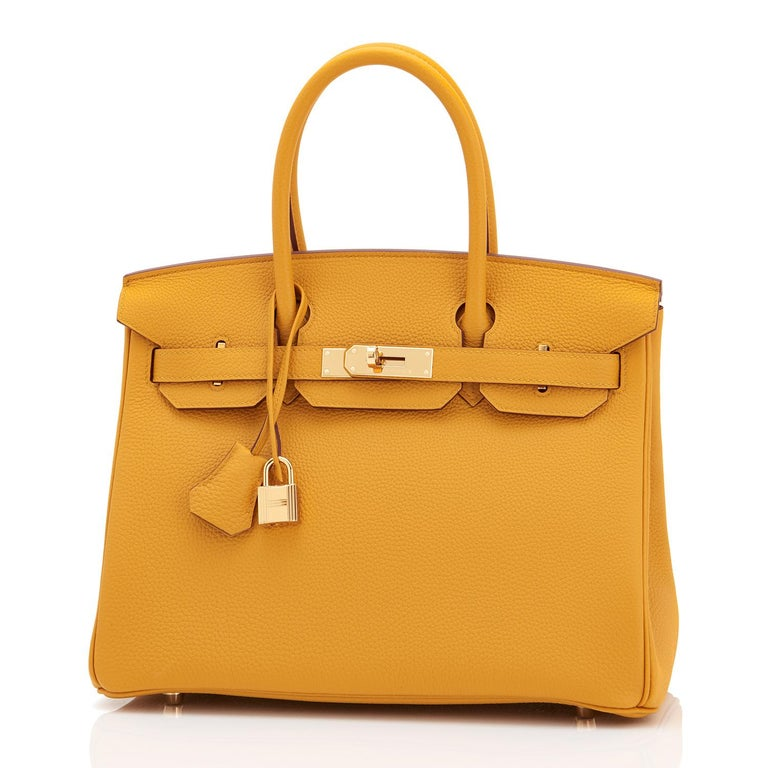 Hermes Birkin 30cm Jaune Ambre Bag Togo Amber Yellow Gold Hardware  For Sale 3