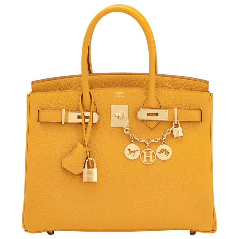Hermes Birkin 30cm Jaune Ambre Bag Togo Amber Yellow Gold Hardware  For Sale