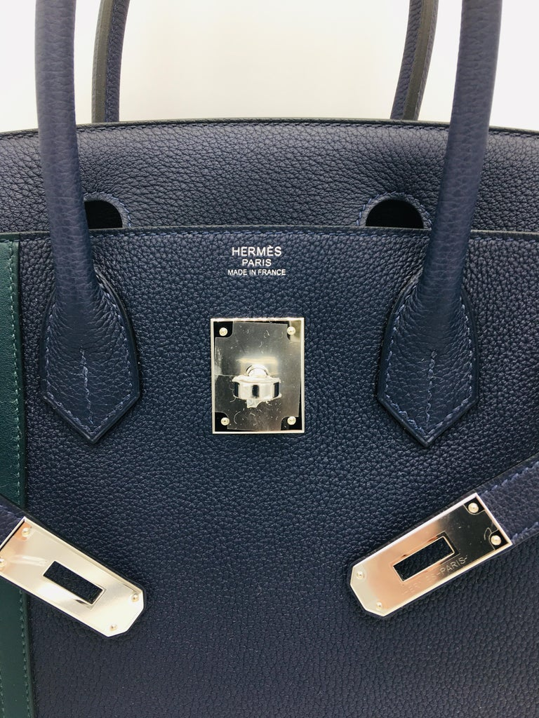 34606f9dc92f05 This unusual Birkin Officier in dark Bleu Nuit features two stripes in Vert  Cypress to one