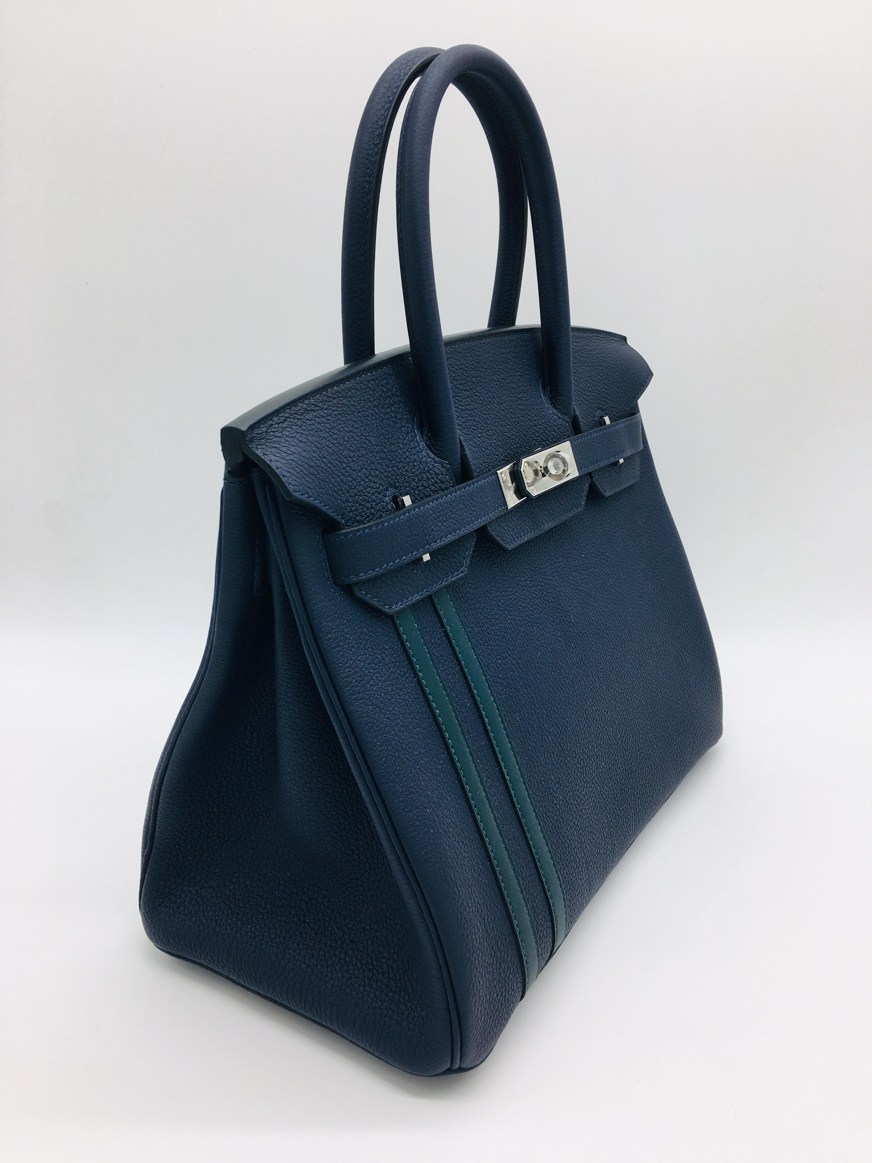 e7b11e5182 Hermes Birkin 30cm Officier Bleu Nuit Vert Cypress For Sale at 1stdibs