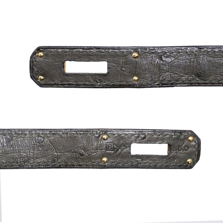 Hermes Birkin 30cm Ostrich Leather Exotic Vert Olive Gold Tone Hardware Handbag  For Sale 6
