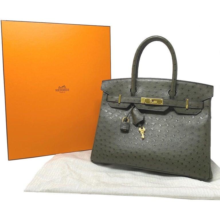 Hermes Birkin 30cm Ostrich Leather Exotic Vert Olive Gold Tone Hardware Handbag  For Sale 7