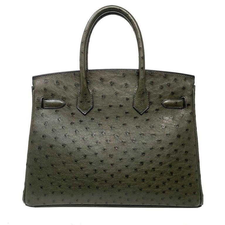 Black Hermes Birkin 30cm Ostrich Leather Exotic Vert Olive Gold Tone Hardware Handbag  For Sale