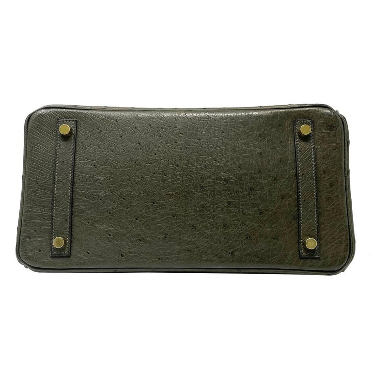 Women's Hermes Birkin 30cm Ostrich Leather Exotic Vert Olive Gold Tone Hardware Handbag  For Sale