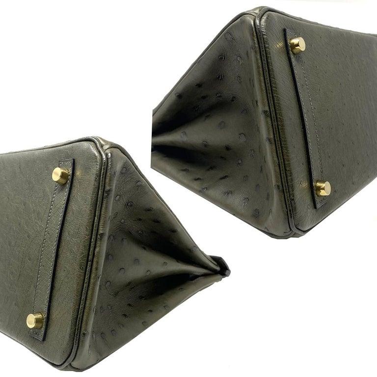 Hermes Birkin 30cm Ostrich Leather Exotic Vert Olive Gold Tone Hardware Handbag  For Sale 1