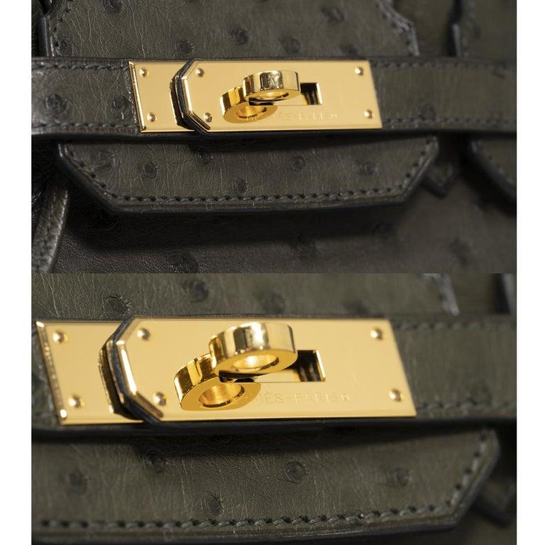 Hermes Birkin 30cm Ostrich Leather Exotic Vert Olive Gold Tone Hardware Handbag  For Sale 4