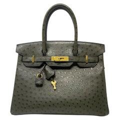 Hermes Birkin 30cm Ostrich Leather Exotic Vert Olive Gold Tone Hardware Handbag
