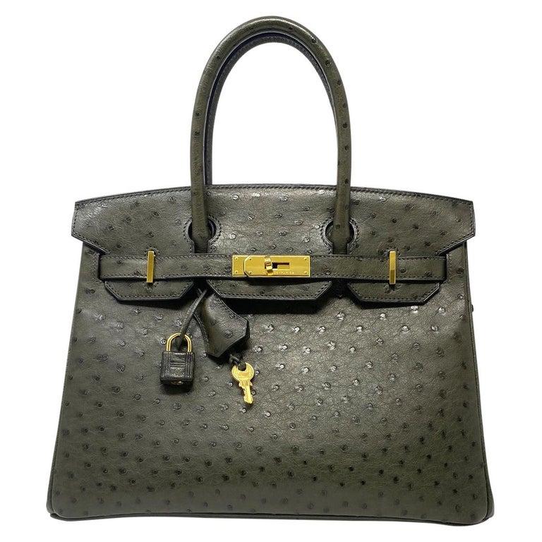 Hermes Birkin 30cm Ostrich Leather Exotic Vert Olive Gold Tone Hardware Handbag  For Sale