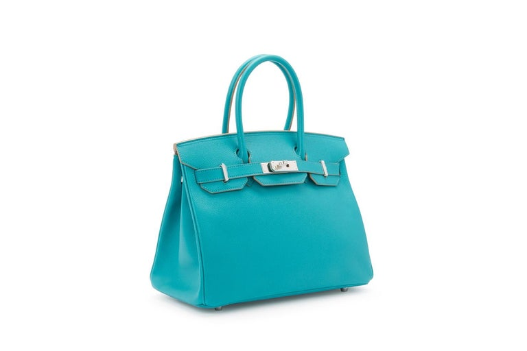 New unworn Hermes Birkin 30cm Paon blue Epsom leather and bright palladium hardware.   Packaged in its original packaging. (X stamp)  30cm x 22cm x 16cm