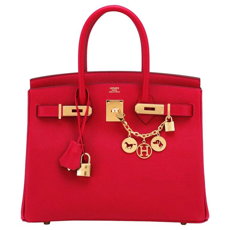 Hermes Birkin 30cm Rouge Casaque Birkin Bag Red Epsom Gold Y Stamp, 2020  For Sale