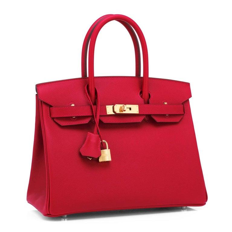 Women's Hermes Birkin 30cm Rouge Casaque Birkin Bag Red Epsom Gold Y Stamp, 2020 For Sale
