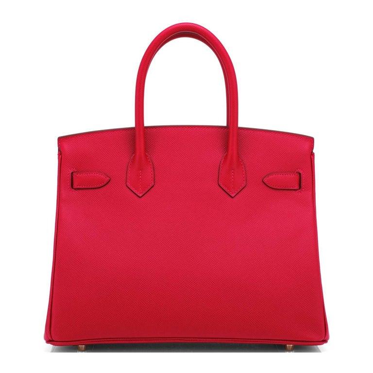 Hermes Birkin 30cm Rouge Casaque Birkin Bag Red Epsom Gold Y Stamp, 2020 For Sale 1