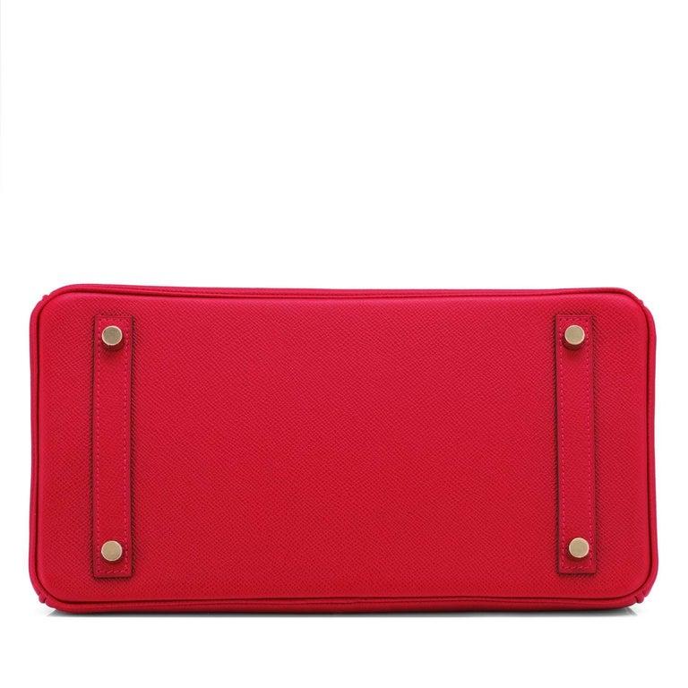 Hermes Birkin 30cm Rouge Casaque Birkin Bag Red Epsom Gold Y Stamp, 2020 For Sale 3