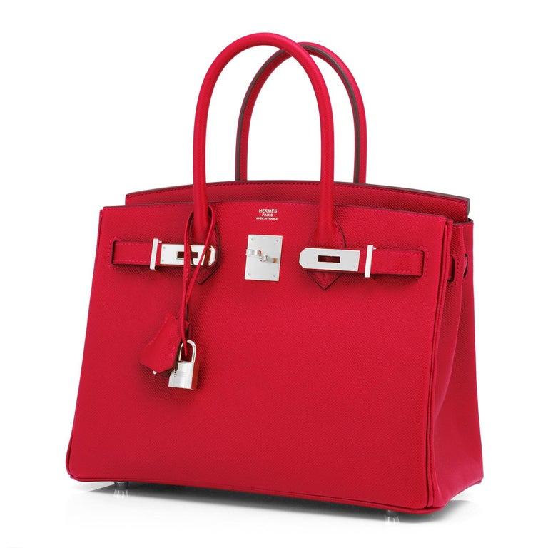 Guaranteed Authentic Hermes Birkin Bag 30cm Rouge Casaque Epsom Palladium Hardware Y Stamp, 2020 Brand New in Box. Store fresh. Pristine condition (with plastic on hardware). Just purchased from Hermes store; bag bears new 2020 interior Y