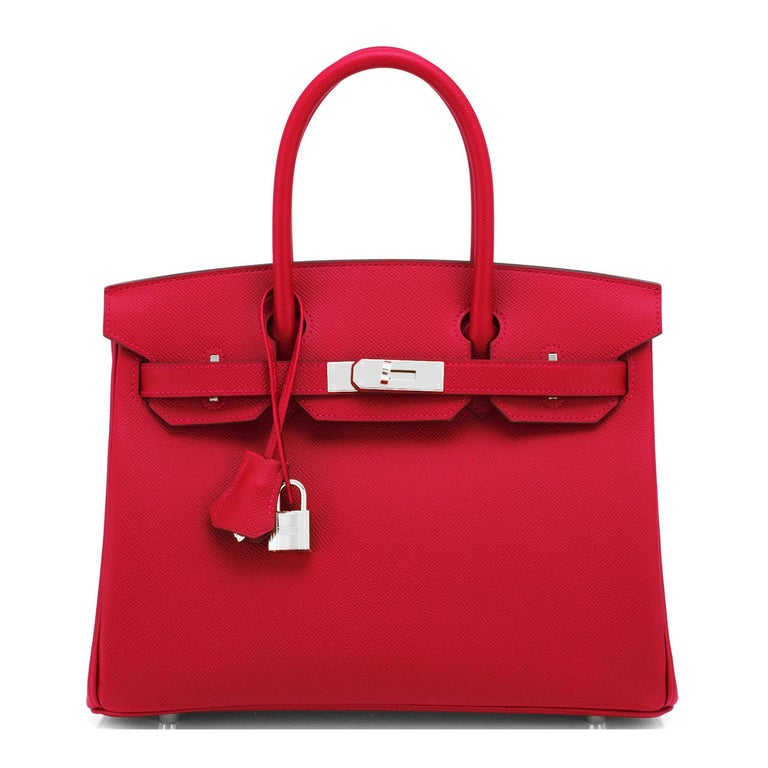 Hermes Birkin 30cm Rouge Casaque Lipstick Red Epsom Palladium Bag Y Stamp, 2020 In New Condition For Sale In New York, NY