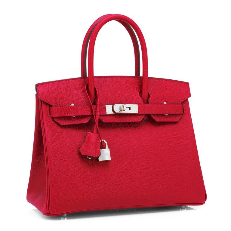 Women's or Men's Hermes Birkin 30cm Rouge Casaque Lipstick Red Epsom Palladium Bag Y Stamp, 2020 For Sale