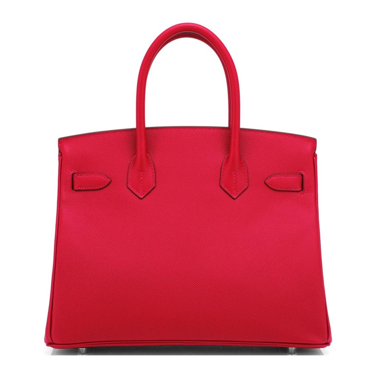 Hermes Birkin 30cm Rouge Casaque Lipstick Red Epsom Palladium Bag Y Stamp, 2020 For Sale 2