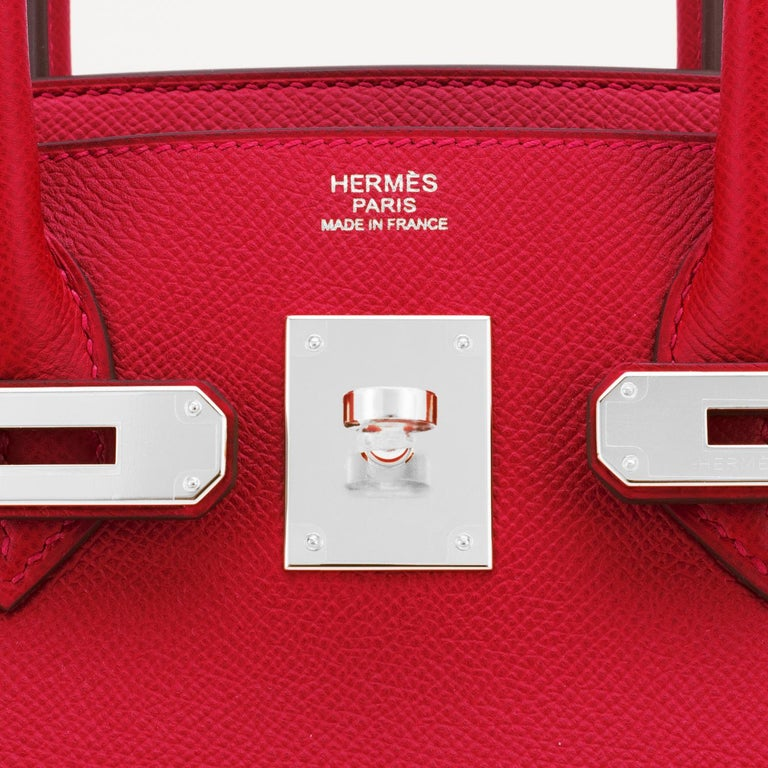 Hermes Birkin 30cm Rouge Casaque Lipstick Red Epsom Palladium Bag Y Stamp, 2020 For Sale 5
