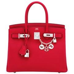 Hermes Birkin 30cm Rouge Casaque Lipstick Red Epsom Palladium Bag Y Stamp, 2020