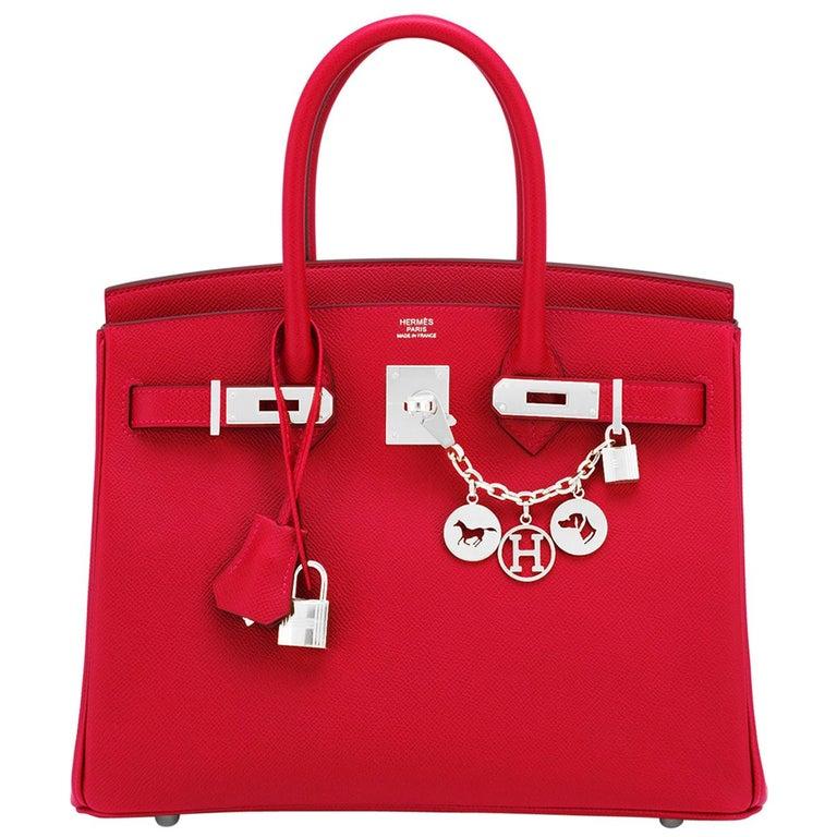 Hermes Birkin 30cm Rouge Casaque Lipstick Red Epsom Palladium Bag Y Stamp, 2020 For Sale