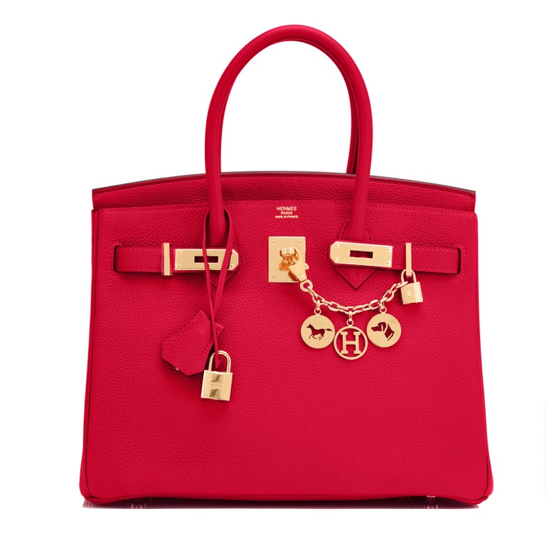 Hermes Birkin 30cm Rouge Casaque Togo Birkin Bag Red Gold Y Stamp, 2020  In New Condition For Sale In New York, NY